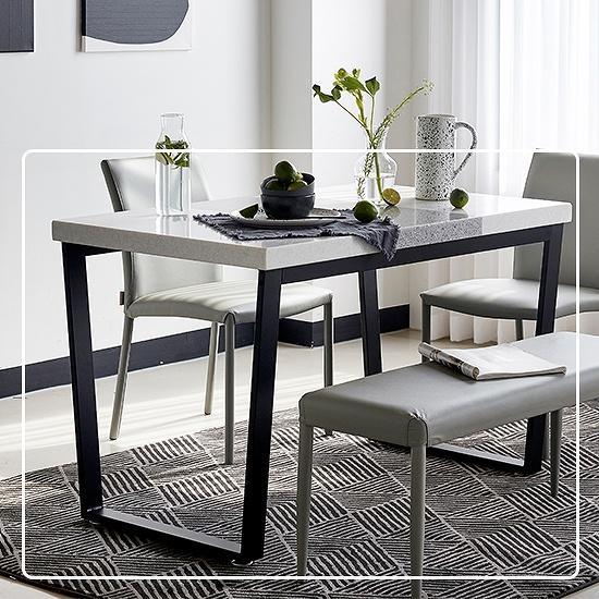 한샘 프레임 스틸 대리석 4인 식탁 (의자미포함 4종 택1), 색상:A형: 블랙 프레임+콤비그레이 상판(A)