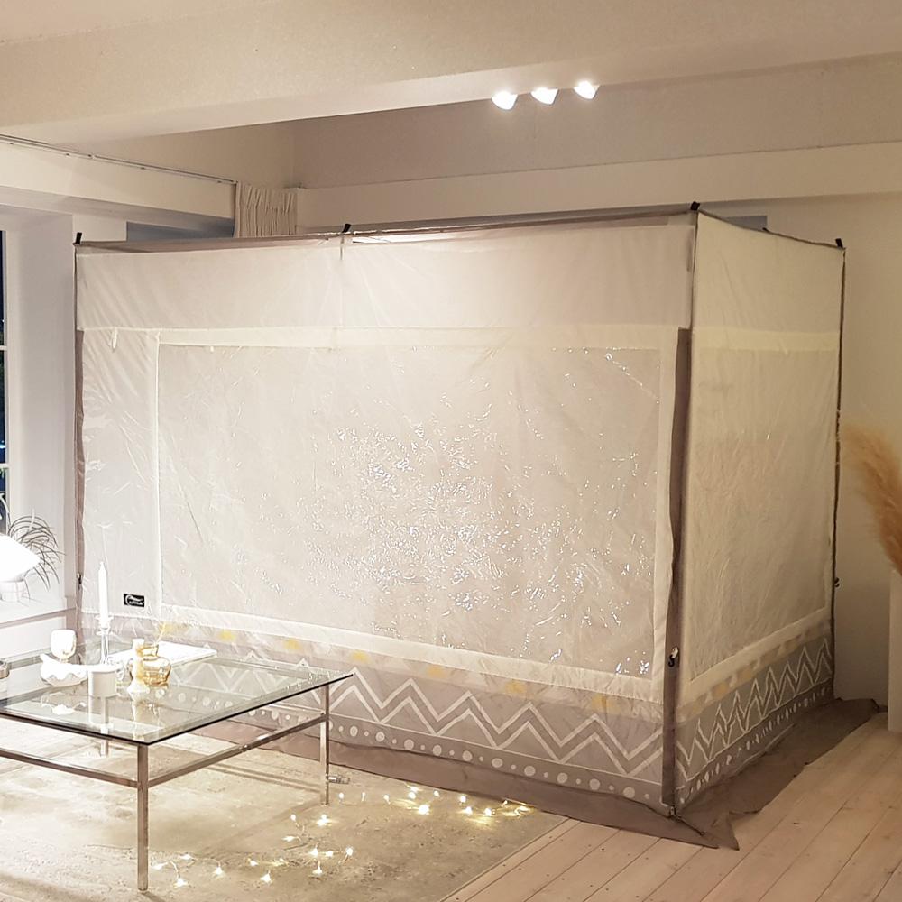 알뜨리 사각 난방 방한 겨울 실내 수면 텐트(커튼형) 세트 난방텐트, 옐로우
