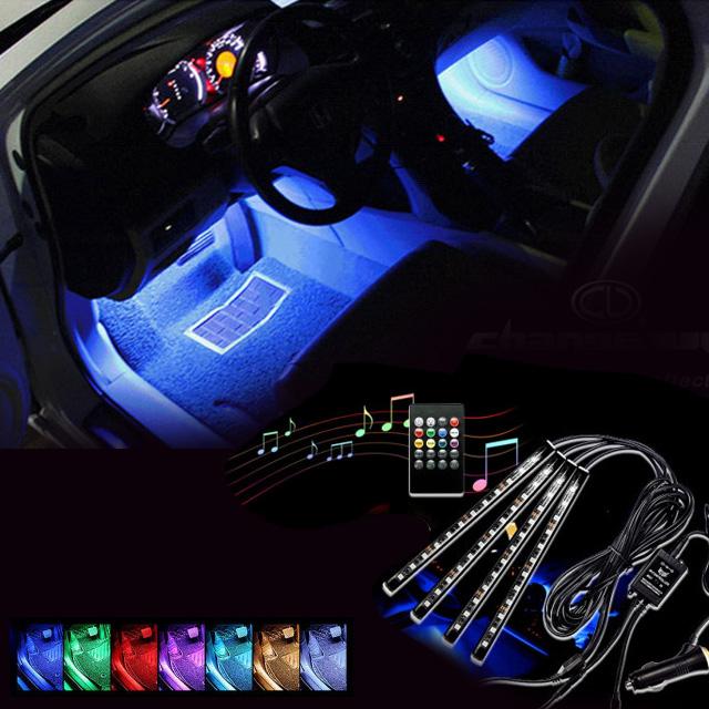 차박 자동차 엠비언트 RGB 풋등 무드등 KC인증 풀세트, RGB바(4개)+리모콘