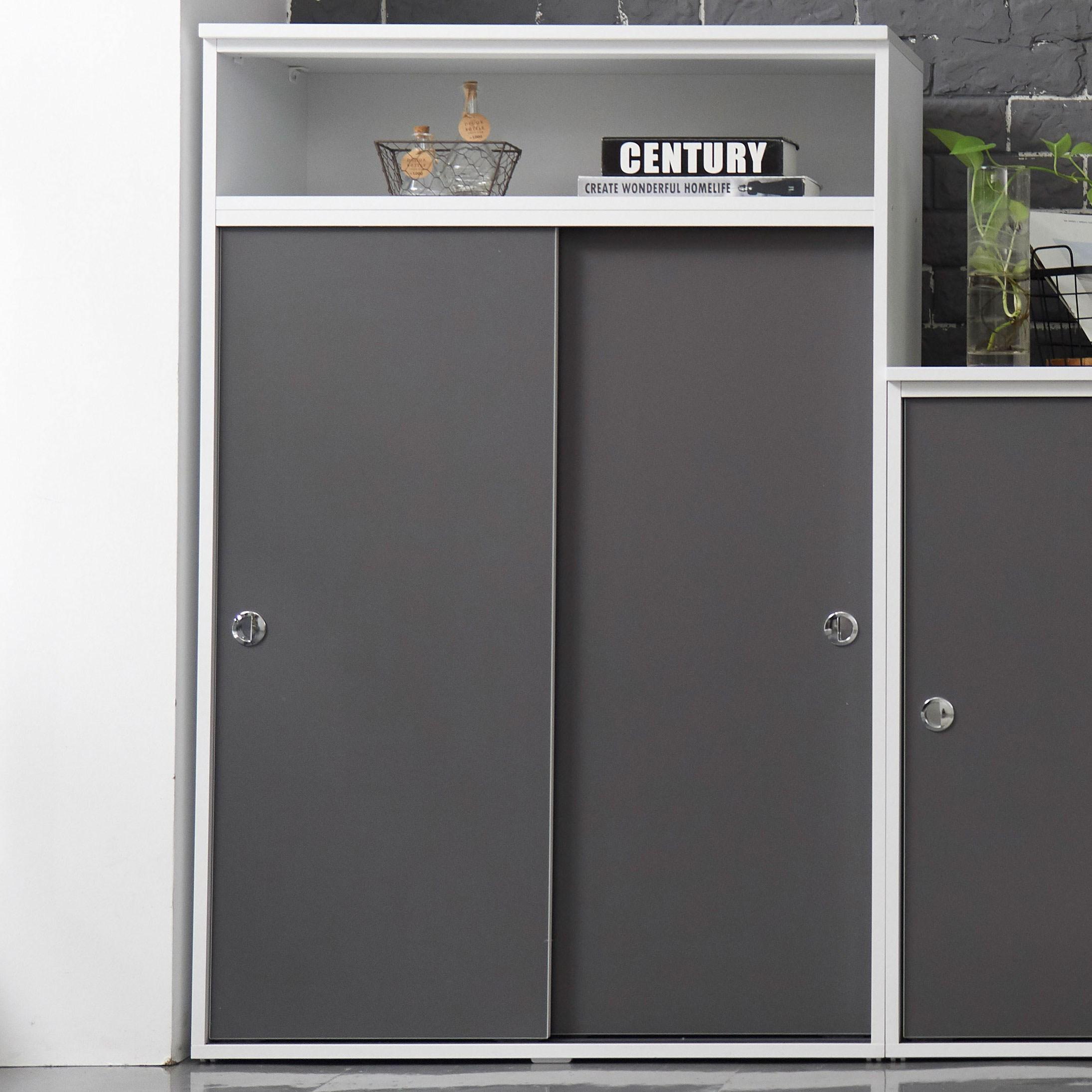 유니우드 파모스 미닫이 슬라이딩 1200 수납장, 메탈그레이