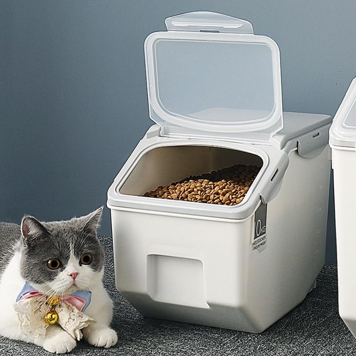 온나 고양이 사료보관함 강아지 사료통, 그레이, 5L