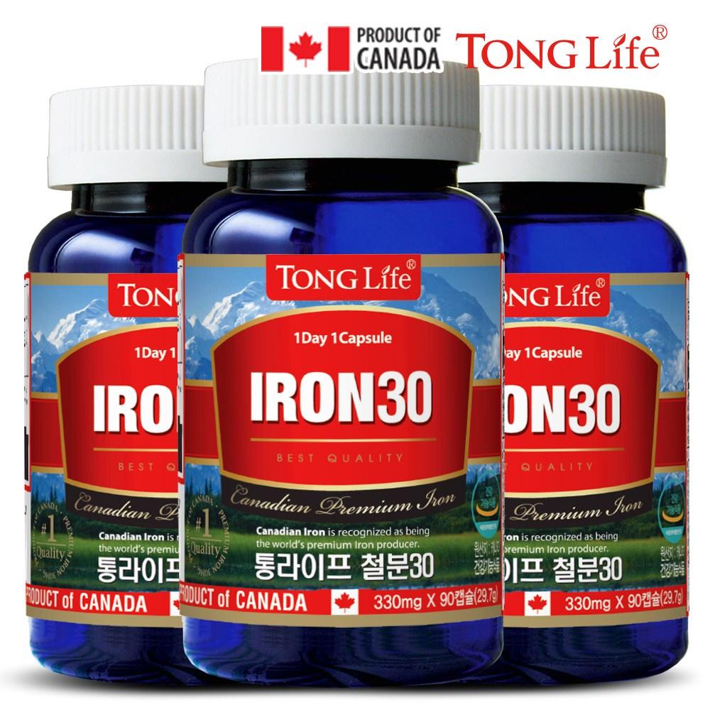 Canada 캐나다정품 통라이프- 철분30-고함량캡슐 3개월분-체내 산소운반과-에너지생성에 필요, 1병