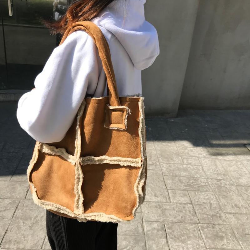브엘세바 여성 모직 겨울 에코백 가방 무스탕 학생 데일리 베이직 숄더WZ108