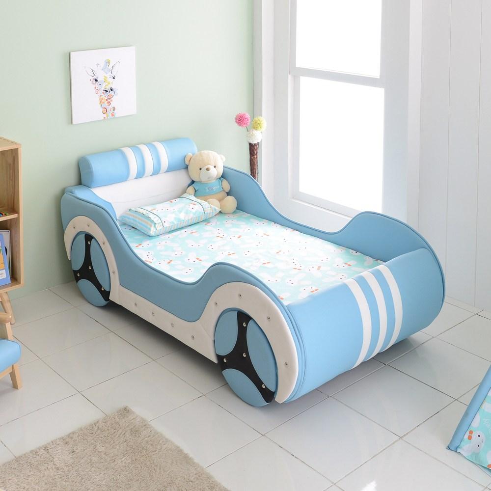 마티노가구 싱글 자동차 침대, 블루-라텍스