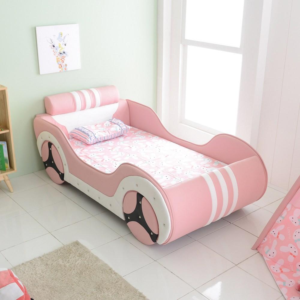 마티노가구 싱글 자동차 침대, 핑크-라텍스