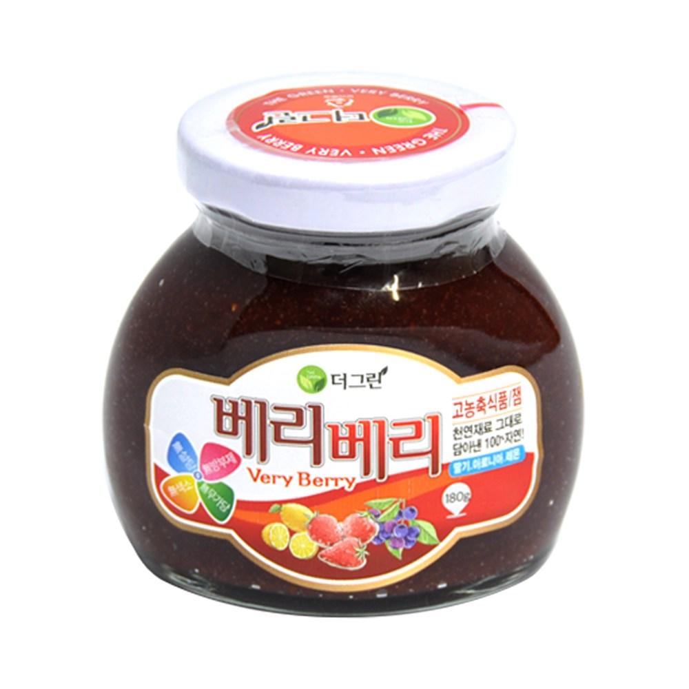 더그린산청 유기농 무설탕 면역력 딸기쨈 딸기 어린이간식 부모님선물 당뇨에좋은 무설탕잼, 180g, 1병