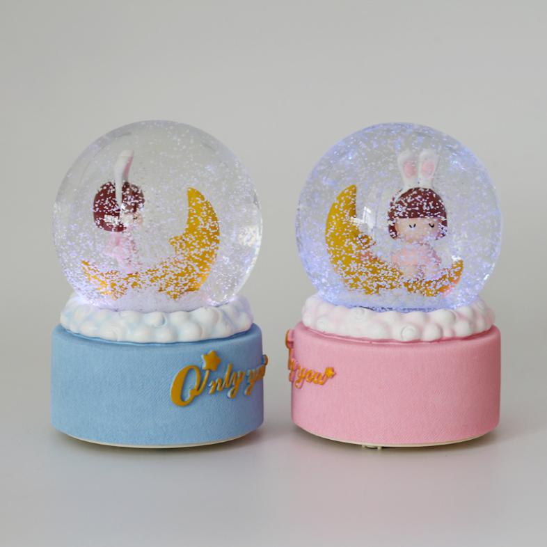 뭉게구름 자동눈날림 LED 모자 소녀 오르골 스노우볼_달소녀, 핑크