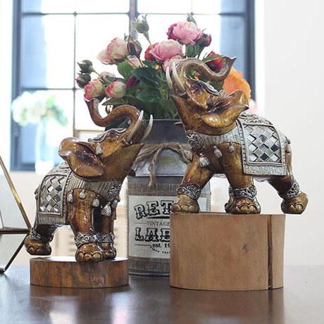 제이콥 재물을 부르는 화려한 실버 코끼리 커플 세트(중) 장식품