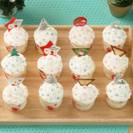 쿡앤베이크 12개완성 크리스마스 컵케익만들기세트, 1개, 크리스마스 컵케익12개세트(상자별도)