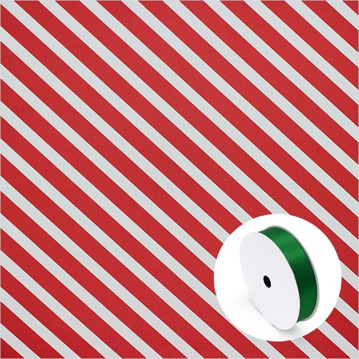 피크닉하우스 크리스마스포장지 산타 루돌프 선물포장지, 레드스트라이프포장지4장+녹색리본10M, 1개