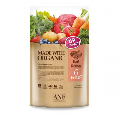 ANF 유기농 오가닉 6 free 플러스 소고기+연어 1.8kg 강아지 사료, 1개