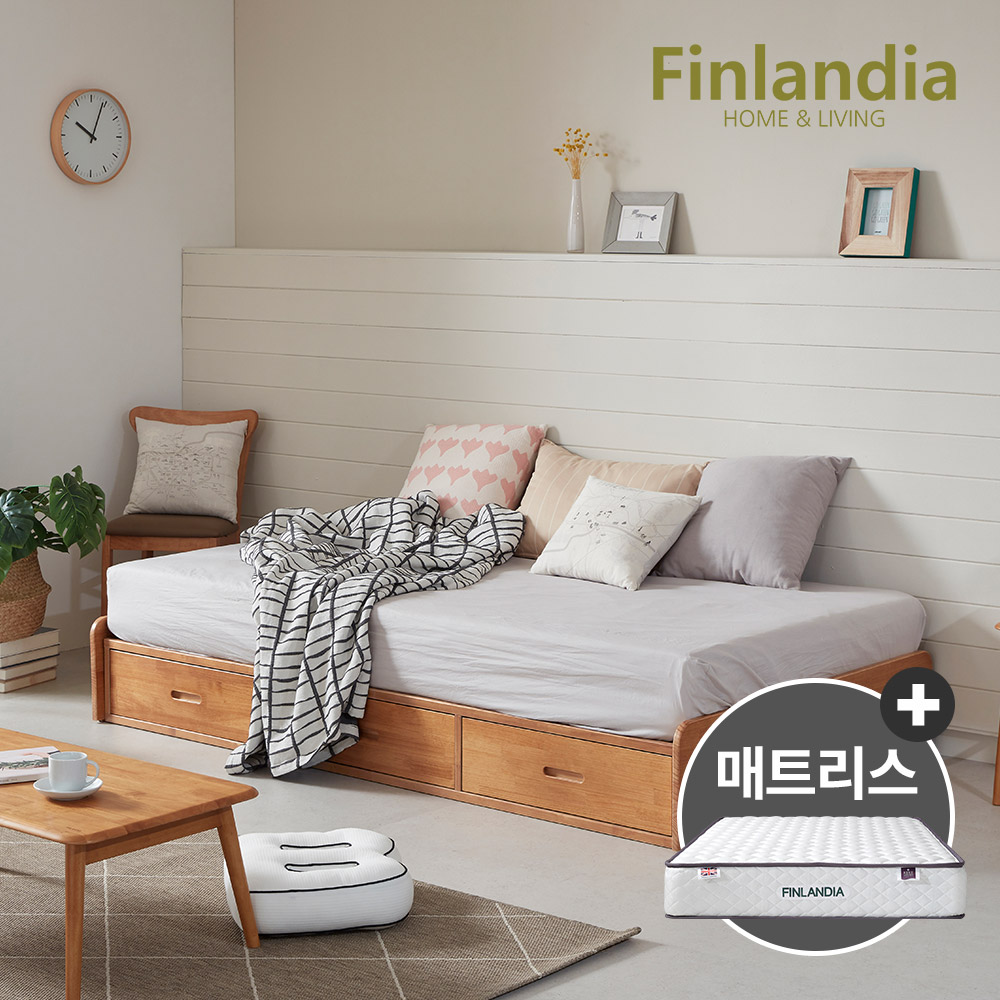 핀란디아 탠디 베이직 슈퍼싱글침대SS(서랍형)+드림온21매트리스, 라이트브라운