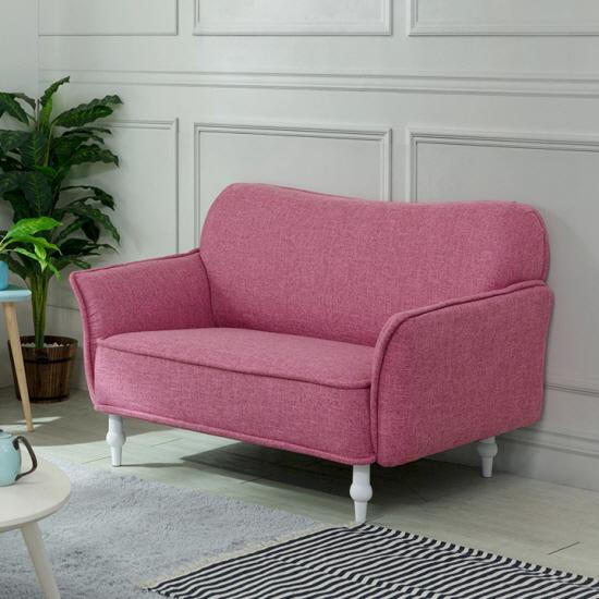[고객감사 20조 즉시할인]에보니아 에보니아 리옹 2인용 레트로 쇼파 의자, 패브릭_핑크