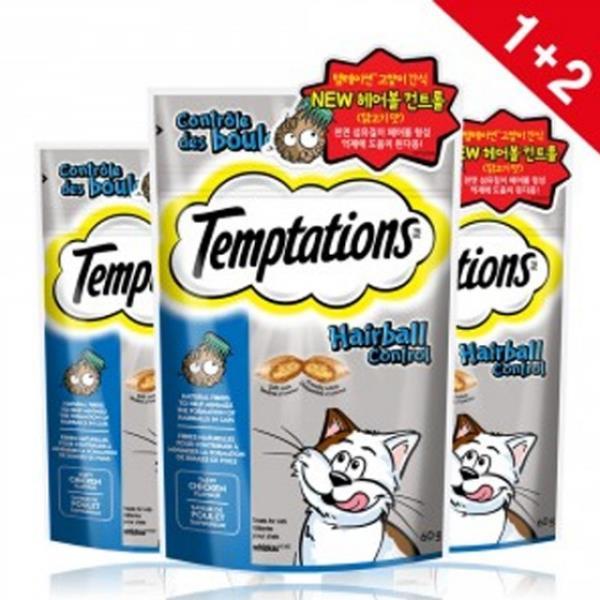 템테이션 템테이션 고양이 간식 헤어볼닭고기맛 3개 냥이스낵, 상품선택