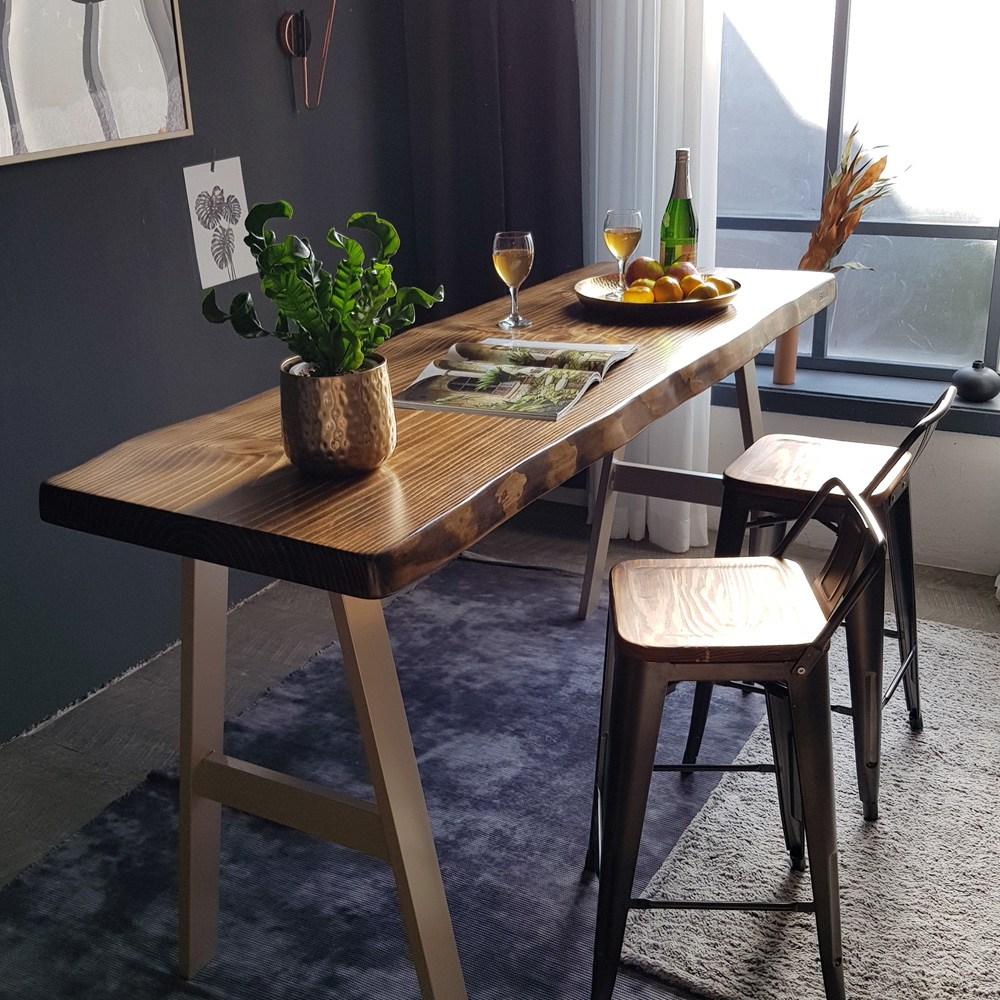 우드인미 소나무 통원목 에코 홈바테이블 1800_엔틱 원목테이블 홈바식탁 원목식탁 바테이블, 샴페인골드