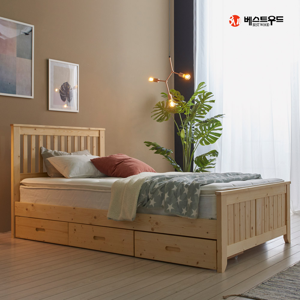 베스트우드 [15조한정 추가할인쿠폰]피란체 소나무 원목 침대프레임 + 서랍 3EA SET, 내추럴