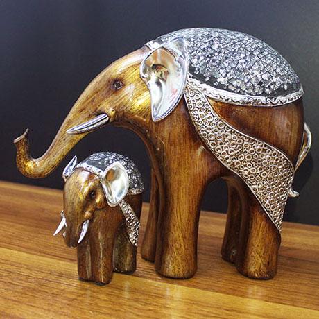 제이콥 돈을 부르는 아기를 품은 엄마코끼리 2p세트 도자기 코끼리 장식품