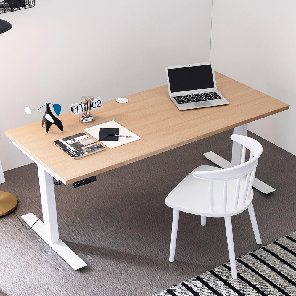 아씨방가구 심플 USB 전동식 높이조절책상 160cm, USB 높이조절 책상 메이플