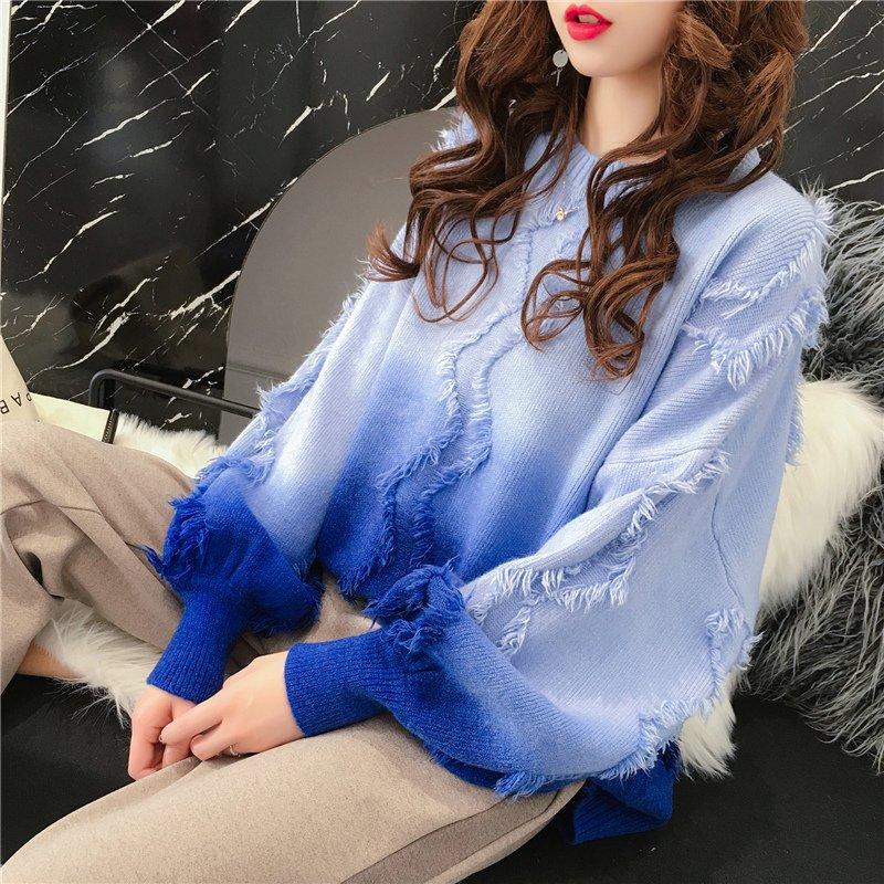 여성 오버핏 그라데이션 니트 티셔츠 겨울 스웨터 티 유니크 아이템