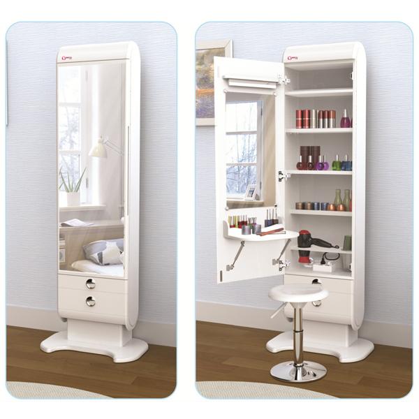 엘레가니 엘레가니-럭스화이트 신개념 아이디어 전신거울 화장대 LED조명 입식 수납 예쁜 디자인