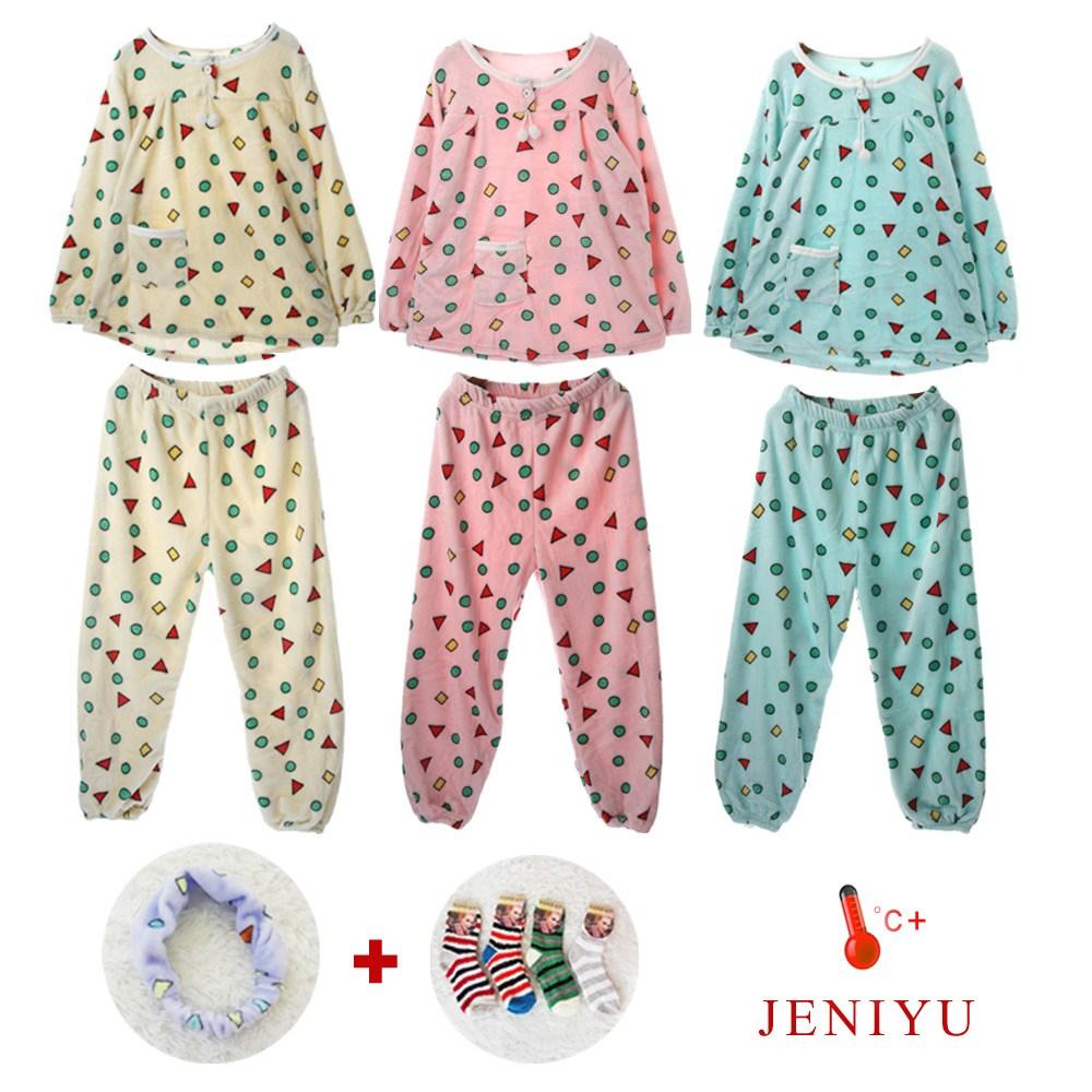 제니유 밍크 융털 기모 여성 짱구잠옷세트+수면양말+밴드 4종
