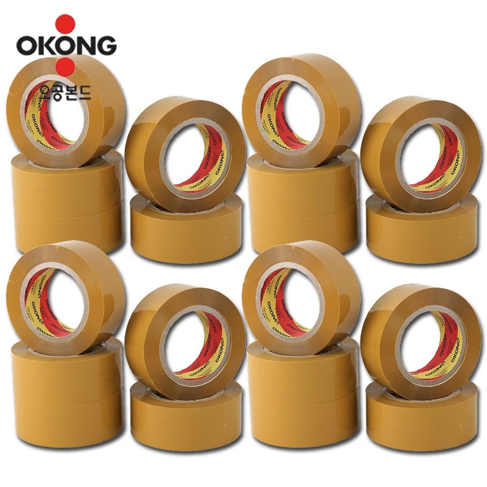 오공본드 국내산 100M OPP아크릴 황색 박스테이프, 20개