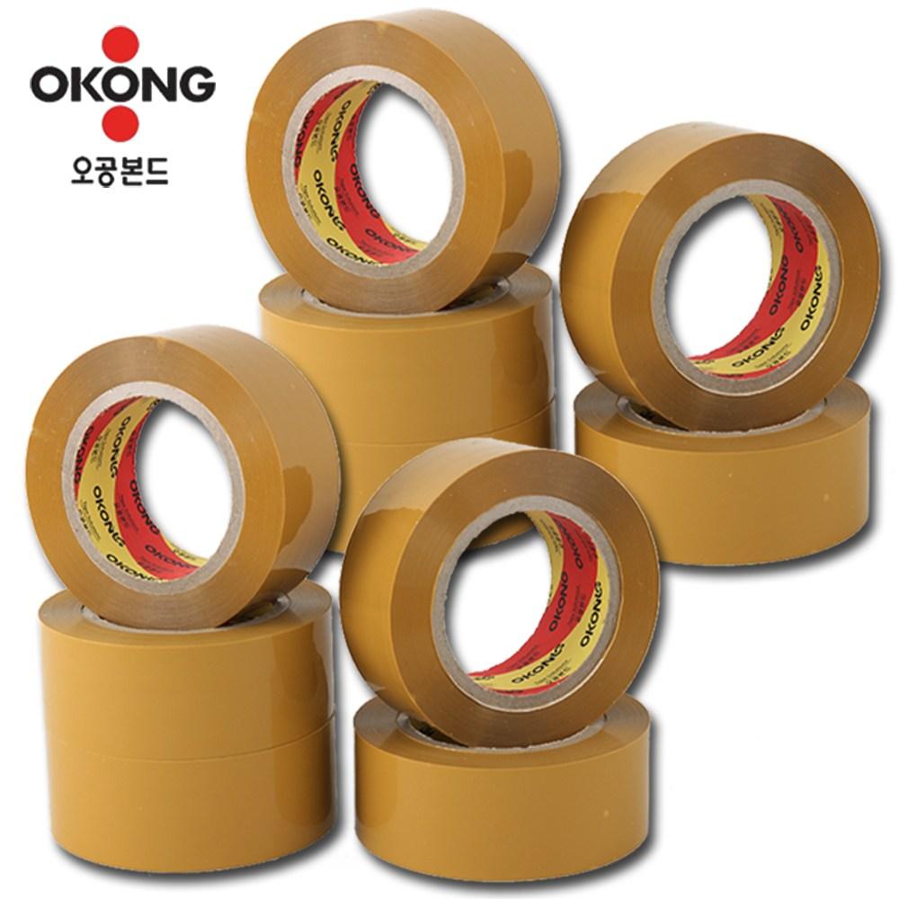 오공본드 국내산 100M OPP아크릴 황색 박스테이프, 10개