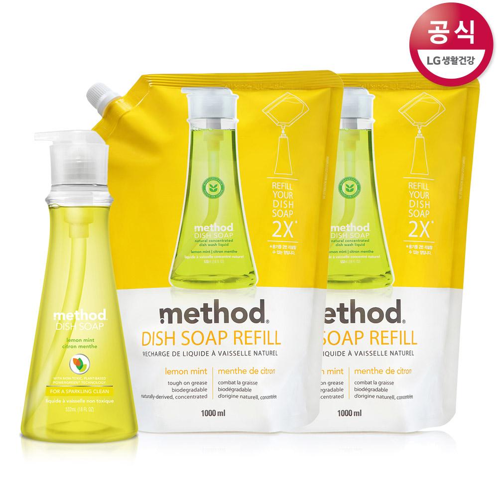 메소드 [LG생활건강] 주방세제 레몬민트, 용기 532ml + 리필1000mlx2개