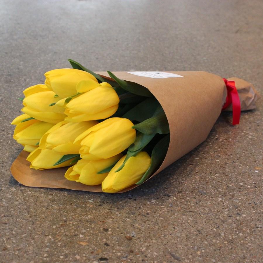 플라로마 튤립꽃다발 생화 빼빼로데이 생일 기념일 꽃다발, 노랑