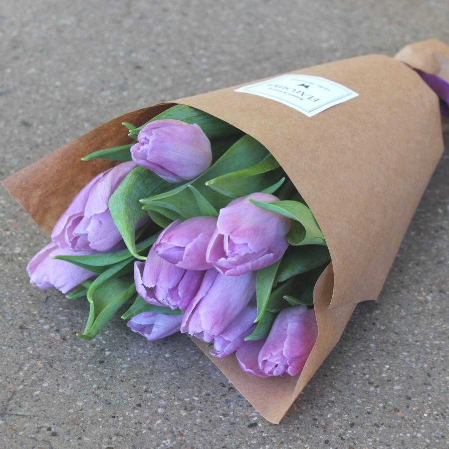 플라로마 튤립꽃다발 생화 빼빼로데이 생일 기념일 꽃다발, 연보라