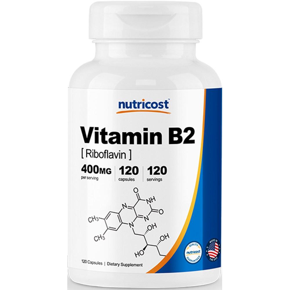 뉴트리코스트 비타민 B2 400mg 캡슐 120캡슐 1서빙 400mg 120회분 Vitamin B2 Capsules [400 MG] [120 CAPS], 1개