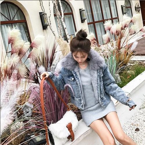 조선스타일리스트 여성 청재킷 자켓 퍼 토끼털 모피 데님 재킷