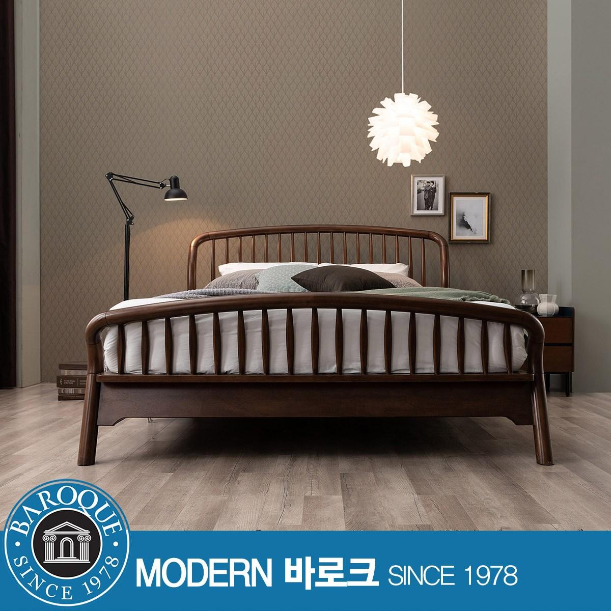 [모던바로크] W 알타무라) 럭셔리 원목 평상형 킹 침대 / Q3 매트리스(수퍼인디), 브라운