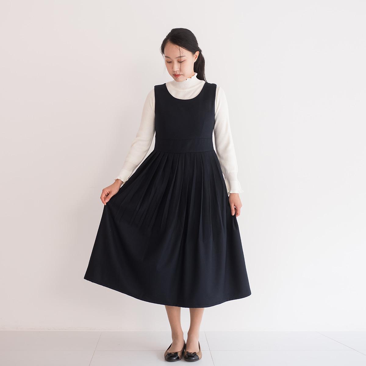 다오네우리옷 소단-울 기모원피스(네이비) 생활한복(개량한복)