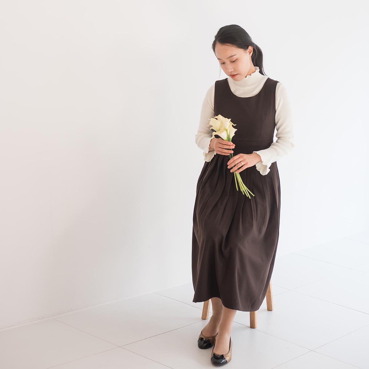 다오네우리옷 소단-울 기모원피스(브라운) 생활한복(개량한복)