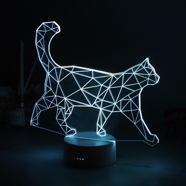 장바9니 7컬러 LED 무드등 수면등 50여종 디자인, 걷는고양이-본품(M)