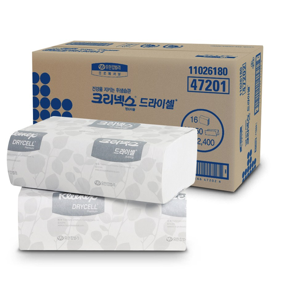유한킴벌리 47201 크리넥스 드라이셀 프리미엄 F150S 핸드타올 화장지 페이퍼, 2400매