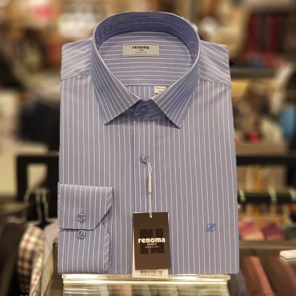 레노마 셔츠 샴브레이 쉐도우 스트라이프 슬림핏 셔츠RJSSLP134BU