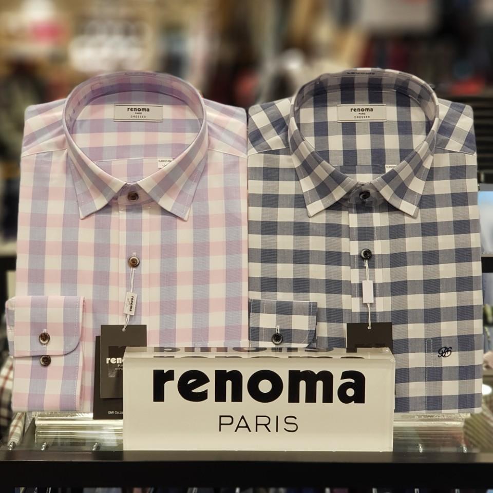 레노마 셔츠 면혼방 깅엄 체크 남방 RJSSGP034