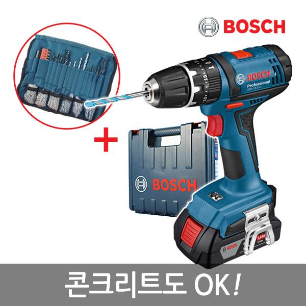 보쉬 18V 신형리튬이온 충전햄머전동드릴 GSB 18-2-LI(1B)/콘크리트OK/액세사리100PCS포함/2.0AH/LED램프, 단품