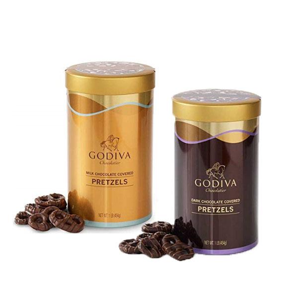 Godiva 고디바 초콜릿 다크 밀크 커버 프레즐 틴 454g, Dark Chocolate-Pretzels