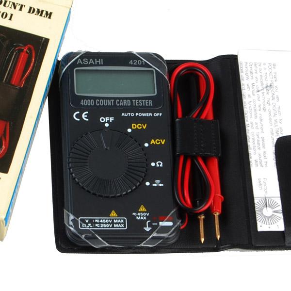 국산 아사히 4201 포켓 테스터기 카드 용 형 디지털 태스터기 멀티 전기 배선 테스트기 배터리 파워 밧데리 누전, 아사히(ASAHI)-4201 포켓테스터기