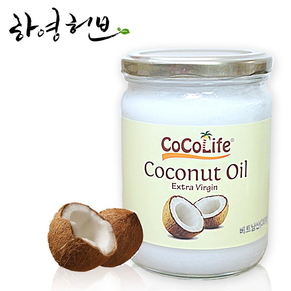 [하영허브] 엑스트라버진 100% 코코넛오일 500ml, 1병