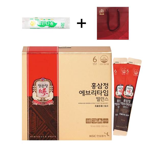 정관장 홍삼정 에브리타임 밸런스 10mlx30포+정품쇼핑백+크린타올 증정, 1박스
