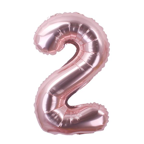 굿벌룬 로즈골드 숫자풍선 생일파티 파티풍선 기념일 베이비샤워 100일 1000일 200일 300일파티, 숫자2