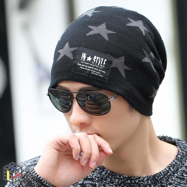 비니 남성 따뜻한 겨울 모자 니트 에디션 오버 시시한 라인 캡 귀 이