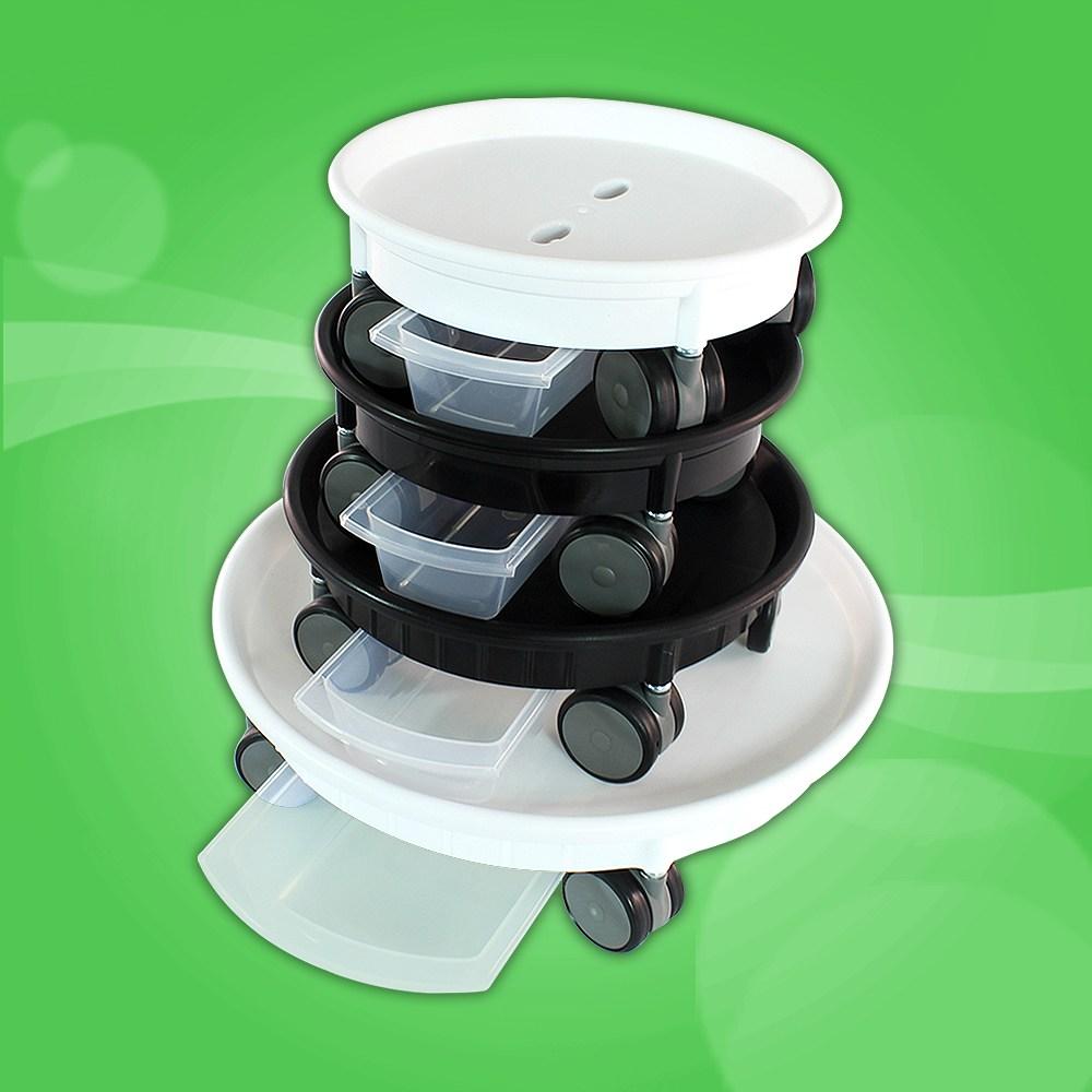 남영플라스틱 원형 다용도 이동식 화분받침대 물받이 공기청정기 받침대, 이동식 원형(백색)