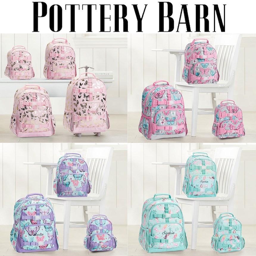 [해외] 미국정품 포터리반 Pink Gold Foil Butterflies Backpacks 신학기 백팩가방 입학선물