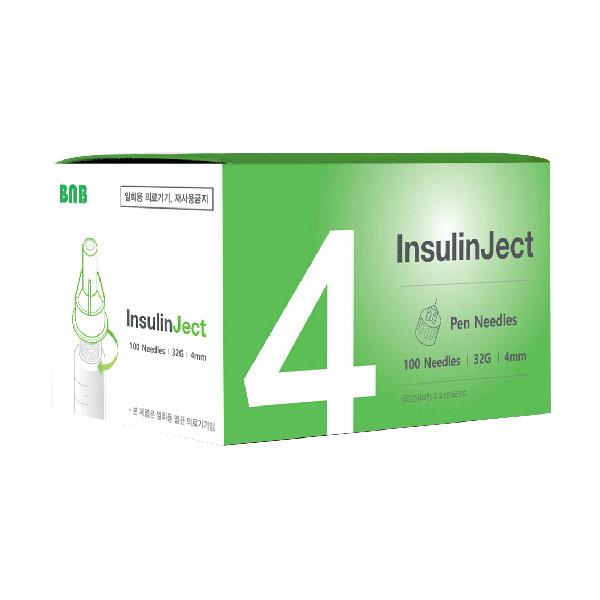 국산 인슐린젯 펜니들 인슐린 주사바늘(32G 4mm), 1box, 100개입