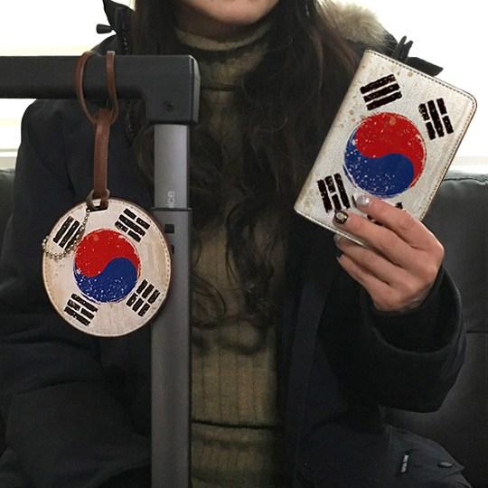 [NANALI] 태극기 수제 여권케이스+가죽네임택 세트